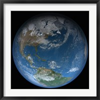 Framed Full Earth Featuring North and South America