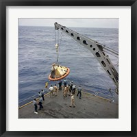 Framed Apollo Spacecraft Command Module is Recovered Aboard USS Bennington
