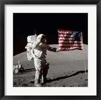 Framed Apollo 17 Astronaut Salutes the United States Flag on the Lunar Surface