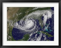 Framed Satellite view of Tropical Storm Isaac in the Gulf of Mexico
