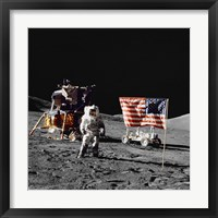 Framed Apollo 17 Astronaut Stands Near the United States Flag on the Lunar Surface