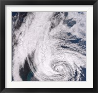 Framed Hurricane Sandy along the Northeastern Coast of the United States