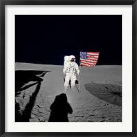 Framed Apollo 14 Astronaut Stands by the American Flag on the Lunar Surface