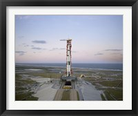 Framed High-angle View of the Apollo 8 Spacecraft on the Launch Pad