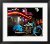 Framed Old Blue Harley on Route 66