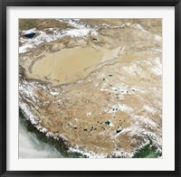 Framed Satellite View of the Tibetan Plateau