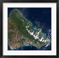 Framed Satellite view of Honolulu, Oahu, Hawaii