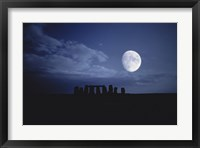 Framed Composite of the Moon over Stonehenge, Wiltshire, England