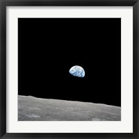 Framed Earth Rising Above the Lunar Horizon