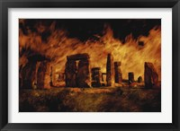 Framed Composite Image of Stonehenge and Fire