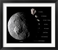 Framed Digital Composite Showing the Comparative Sizes of Nine Asteroids