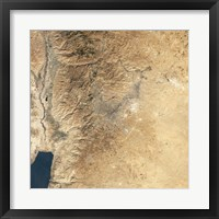 Framed Natural-color Satellite view of Amman, Jordan