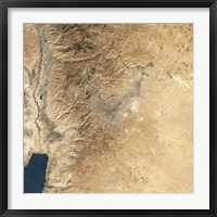 Framed Natural-color Satellite view of Amman, Jordan