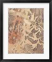 Framed Satellite View of Wadi Rum in Southwestern Jordan