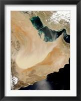 Framed Satellite View of a Dust Storm in Saudi Arabia