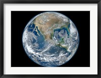 Framed Blue Marble image of Earth showing North America