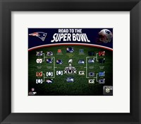 Framed New England Patriots Road the Super Bowl Super Bowl XLIX Champions Bracket