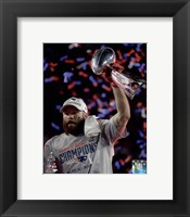 Framed Julian Edelman with the Vince Lombardi Trophy Super Bowl XLIX