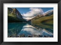 Framed Lake Louise at sunrise, Banff National Park, Canada