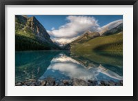 Framed Lake Louise at sunrise, Banff National Park, Canada