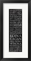 Minnesota Bus Roll Black Framed Print