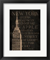Framed Burlap New York
