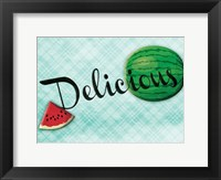 Framed Delicious Watermelons - Blue