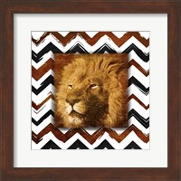 Framed Lion with Chevron Border
