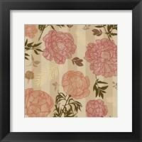 Framed Vintage Floral Stripe set 01