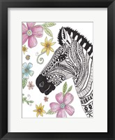 Tribal Zebra Portrait Framed Print