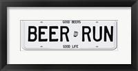 Framed Beer Run License Plate