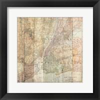 NY Map On Wood Framed Print