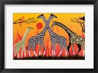 Framed Giraffe Family