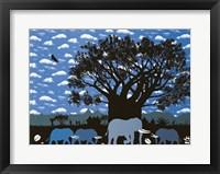 Framed Elephant Herd and Cloudy Sky