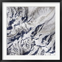 Framed Satellite view of a Himalayan Glacier Surrounded by Mountains