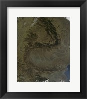 Framed Satellite view of the Carpathian Mountains in Romania
