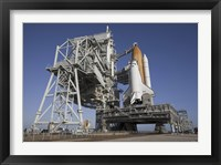Framed Space Shuttle Endeavour Atop a Mobile Launcher Platform at Kennedy Space Center
