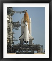 Framed Space Shuttle Discovery Sits Ready on the Launch Pad at Kennedy Space Center