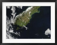 Framed Satellite view of Most of the South Island of New Zealand