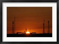Framed Soyuz Launch Pad at the Baikonur Cosmodrome in Kazakhstan