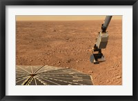 Framed Phoenix Mars Lander's Solar Panel and the Lander's Robotic Arm with a Sample in the Scoop