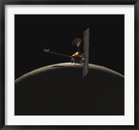 Framed Mars Odyssey Spacecraft Over Martian Sunrise
