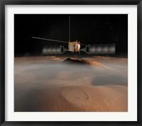 Framed Artist's Concept of Mars Express Spacecraft in Orbit Around Mars