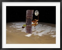 Framed Mars Odyssey Spacecraft Passes Above Mars' South Pole