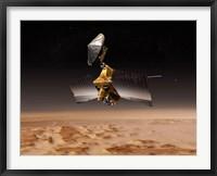Framed Mars Reconnaissance Orbiter Passes above Planet Mars