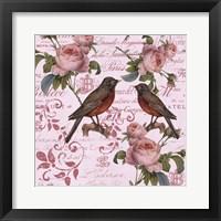 Framed Vintage Rose Pink Pattern