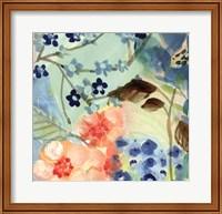 Framed Blue Peach Floral II
