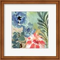 Framed Blue Peach Floral I