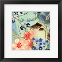 Framed Blue Peach Floral II