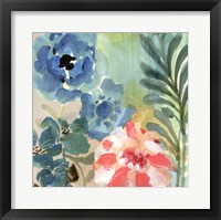 Framed Blue Peach Floral I